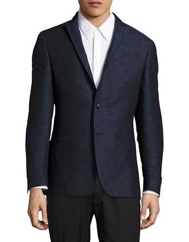 John Varvatos Star U.S.A. Jacquard Floral Linen-Cotton Sports Jacket-BLUE-40 Regular