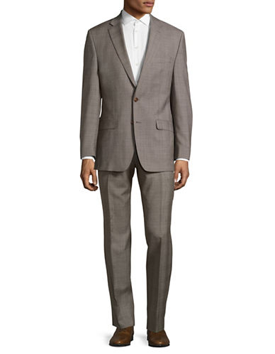 Lauren Ralph Lauren Slim-Fit Ultraflex Glen Plaid Wool Suit-BEIGE-46 Regular