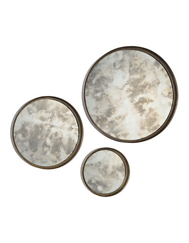 Ren-Wil Set of Three Shire Round Mirrors-ANTIQUE SILVER-One Size