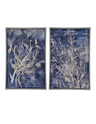Ren-Wil Self Similar Two-Piece Botanical Canvas Wall Art Set-BLUE-One Size