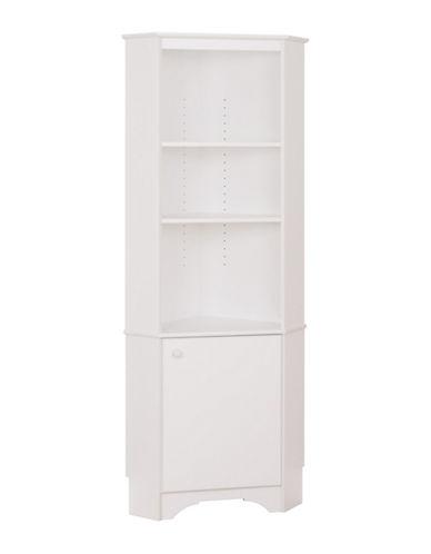 Prepac Elite Tall Corner Storage Cabinet-WHITE-One Size