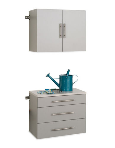 Prepac HangUps Two Piece Storage Set-LIGHT GREY-One Size