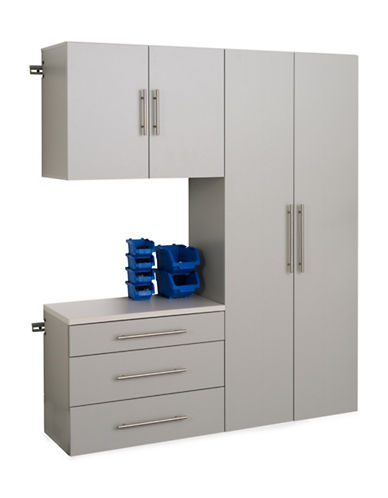 Prepac HangUps Three Piece Storage Set-LIGHT GREY-One Size
