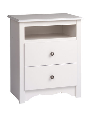 Prepac Monterey Two-Drawer Tall Nightstand with Open Shelf-WHITE-One Size