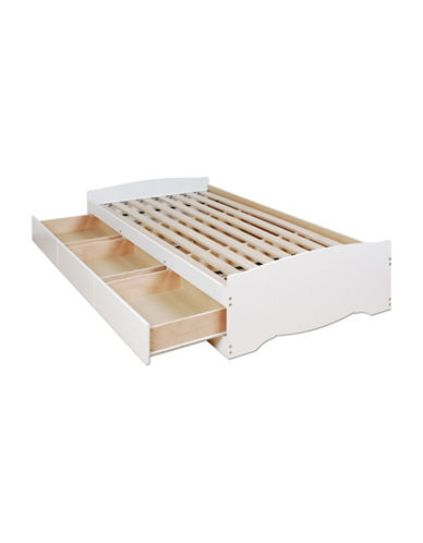 Prepac Platform Storage Bed with Three Drawers-WHITE-One Size
