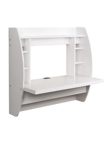 Prepac Floating Desk with Storage-WHITE-One Size