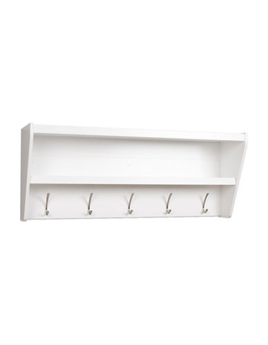 Prepac Floating Entryway Shelf and Coat Rack-WHITE-One Size