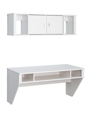 Prepac Designer Floating Desk & Hutch Set-WHITE-One Size