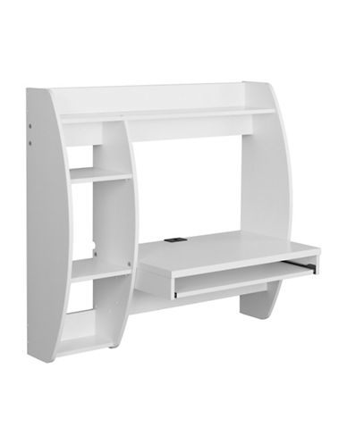 Prepac Floating Desk with Storage and Keyboard Tray-WHITE-One Size