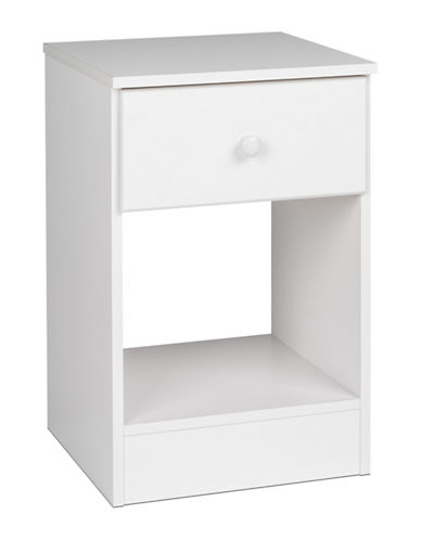 Prepac Astrid Tall 1-Drawer Nightstand-WHITE-One Size