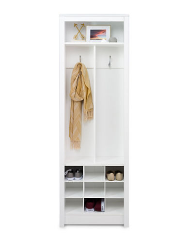 Prepac Space-Saving Entryway Organizer with Shoe Storage-WHITE-One Size