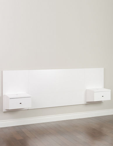 Prepac Floating Queen Headboard with Nightstands-WHITE-One Size