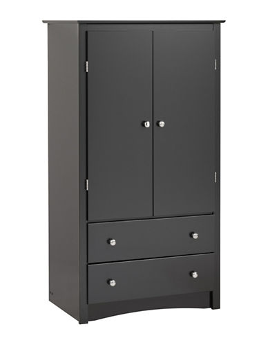 Prepac Sonoma Two-Door Armoire-BLACK-One Size