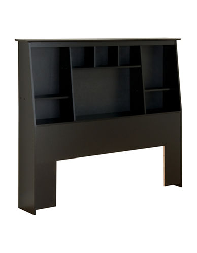 Prepac Full/Queen Slant-Back Bookcase Headboard-BLACK-One Size