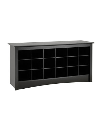 Prepac Rectangular Shoe Storage Cubby Bench-BLACK-One Size