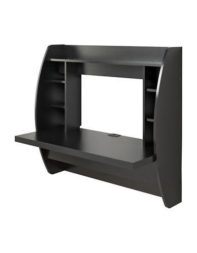 Prepac Floating Desk with Storage-BLACK-One Size