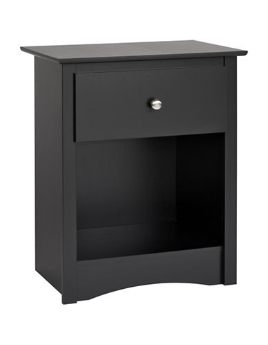 Prepac Sonoma One-Drawer Tall Nightstand-BLACK-One Size