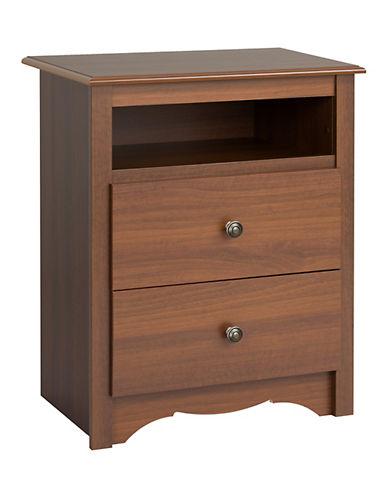 Prepac Monterey Two-Drawer Tall Nightstand with Open Shelf-CHERRY-One Size