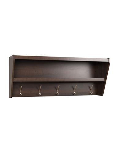 Prepac Floating Entryway Shelf and Coat Rack-ESPRESSO-One Size