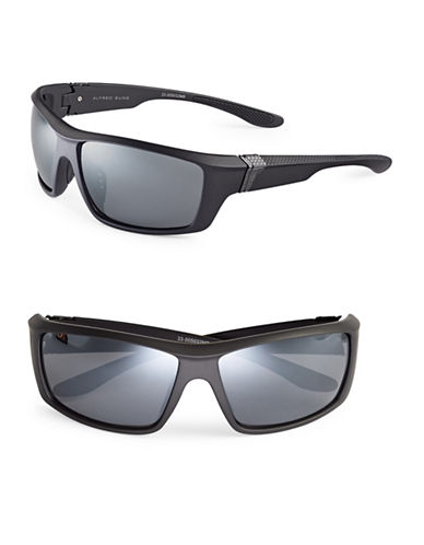 Alfred Sung Rubber 66mm Sport Wrap Sunglasses-BLACK-One Size