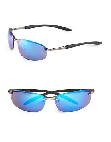 Izod 70mm Metal Rimless Sunglasses-BLUE-One Size