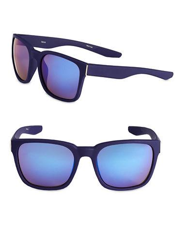 Izod 56mm Rubberized Wayfarer Sunglasses-BLUE-One Size