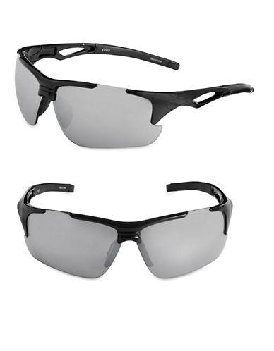 Izod 85mm Mirrored Blade Sunglasses-BLACK-One Size