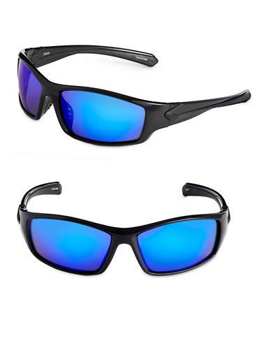 Izod 65mm Mirrored Sport Wrap Sunglasses-BLACK-One Size
