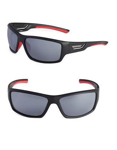 Izod 67mm Cutout Sport Wrap Sunglasses-BLACK-One Size