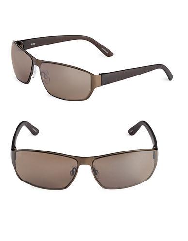 Izod 65mm Sport Wrap Sunglasses-BROWN-One Size