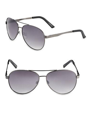 Izod 63mm Metal Aviator Sunglasses-GREY-One Size