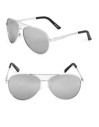 Izod 63mm Mirrored Aviator Sunglasses-WHITE-One Size