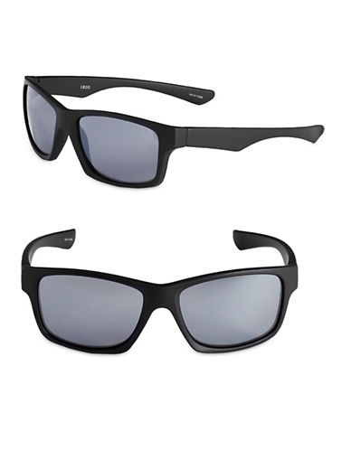 Izod 57mm Rubberized Wayfarer Sunglasses-BLACK-One Size