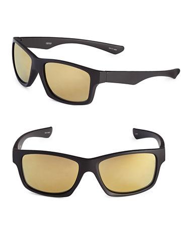Izod 57mm Rubberized Wayfarer Sunglasses-BROWN-One Size