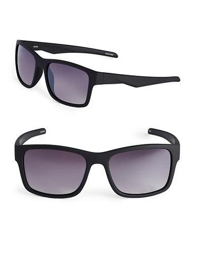 Izod 54mm Rubberized Wayfarer Sunglasses-BLACK-One Size