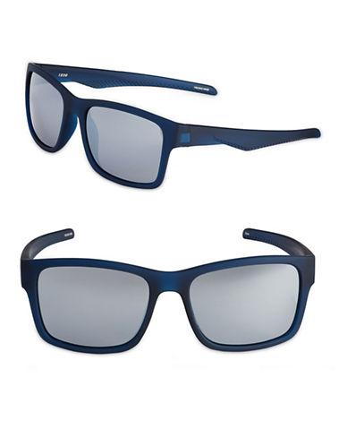 Izod 54mm Rubberized Wayfarer Sunglasses-NAVY-One Size