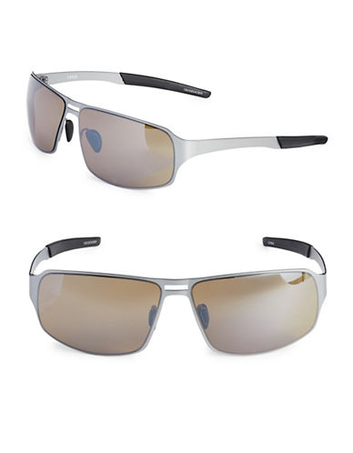 Izod 67mm Metal Sport Wrap Sunglasses-BROWN-One Size