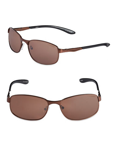 Izod 59mm Polarized Rectangle Sunglasses-BROWN-One Size