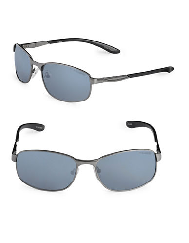 Izod 59mm Polarized Rectangle Sunglasses-GREY-One Size