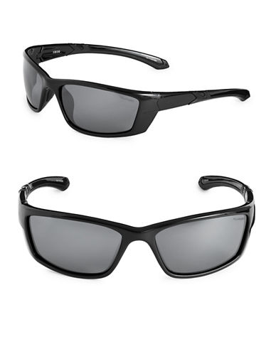 Izod 64mm Polarized Sport Wrap Sunglasses-BLACK-One Size
