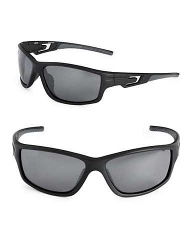 Izod 67mm Polarized Sport Wrap Sunglasses-BLACK-One Size