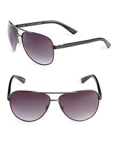 Alfred Sung 62mm Mesh Trim Aviator Sunglasses-BLACK-One Size