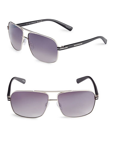Alfred Sung 62mm Rectangle Aviator Sunglasses-SILVER-One Size
