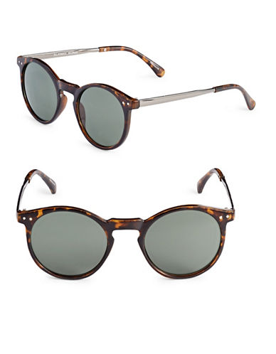 Alfred Sung 50mm Tortoiseshell Round Cats-Eye Sunglasses-TORTOISE-One Size