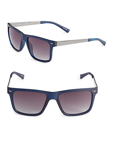 Alfred Sung 54mm Checked Temple Square Sunglasses-NAVY-One Size