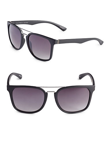 Alfred Sung 54mm Brow Bar Square Sunglasses-BLACK-One Size