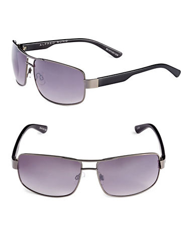 Alfred Sung 67mm Rectangle Brow Bar Sunglasses-GUNMETAL-One Size