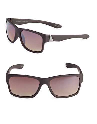 Alfred Sung 58mm Flat Top Wayfarer Sunglasses-BROWN-One Size
