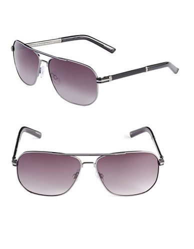 Alfred Sung 60mm Mesh Trim Aviator Sunglasses-GUNMETAL-One Size
