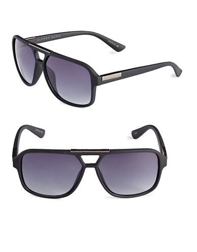 Alfred Sung 57mm Cut-Out Aviator Sunglasses-BLACK-One Size